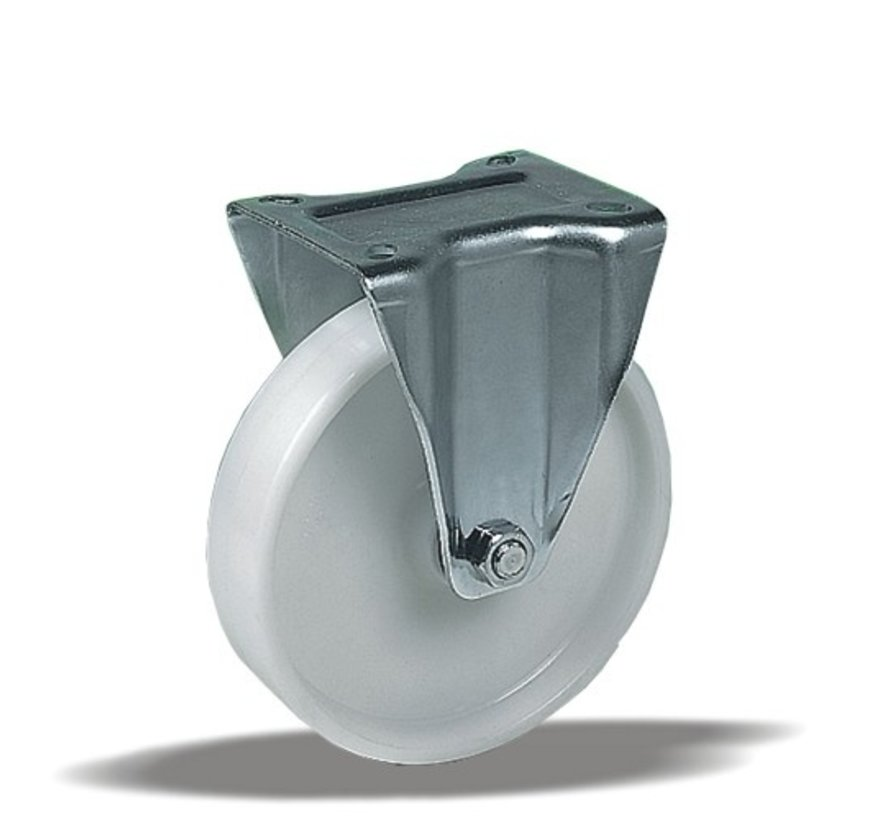 standard Fixed  castor + solid polypropylene wheel Ø150 x W46mm for  250kg Prod ID: 67022