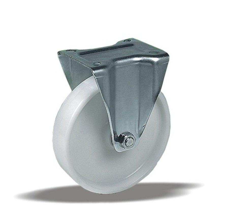 standard Fixed  castor + solid polypropylene wheel Ø125 x W38mm for  150kg Prod ID: 67006