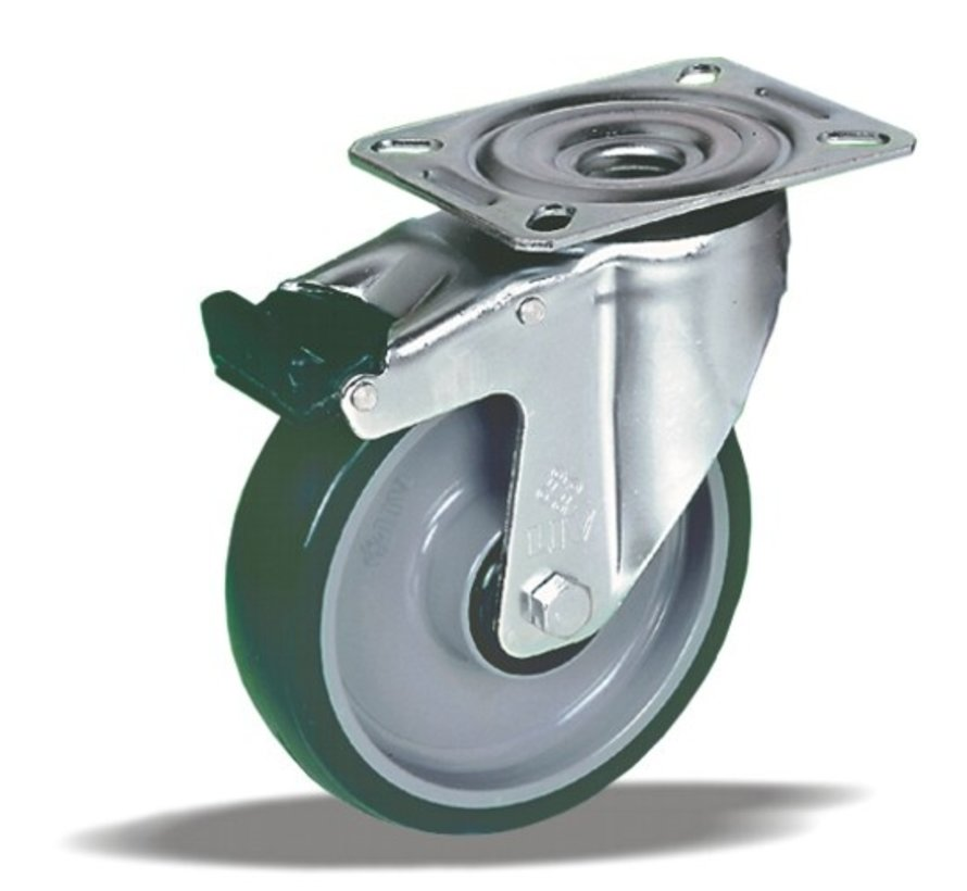 stainless steel Swivel castor with brake + injection-moulded polyurethane tread Ø100 x W32mm for  150kg Prod ID: 41383