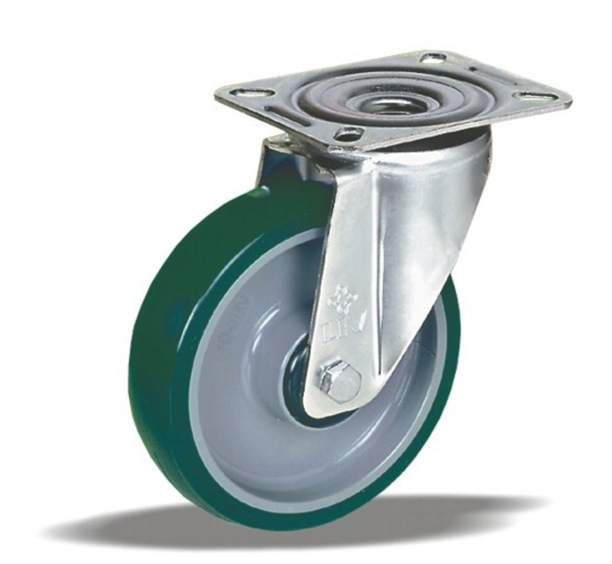 stainless steel Swivel castor + injection-moulded polyurethane tread Ø125 x W32mm for  200kg Prod ID: 41373