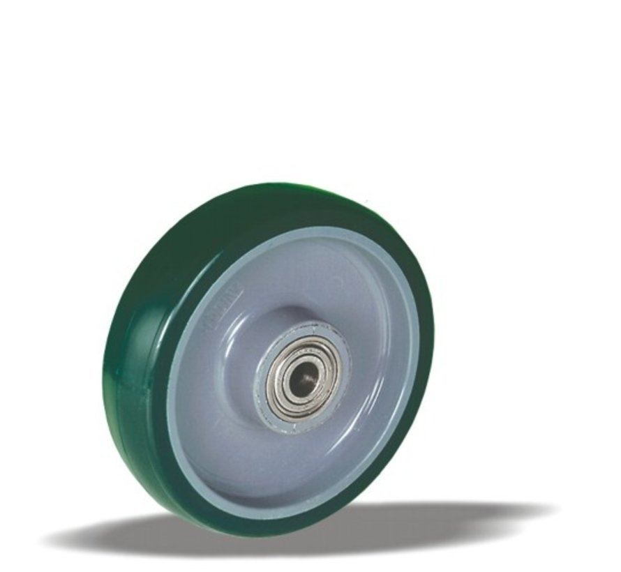 stainless steel wheel + injection-moulded polyurethane tread Ø100 x W32mm for  150kg Prod ID: 42135