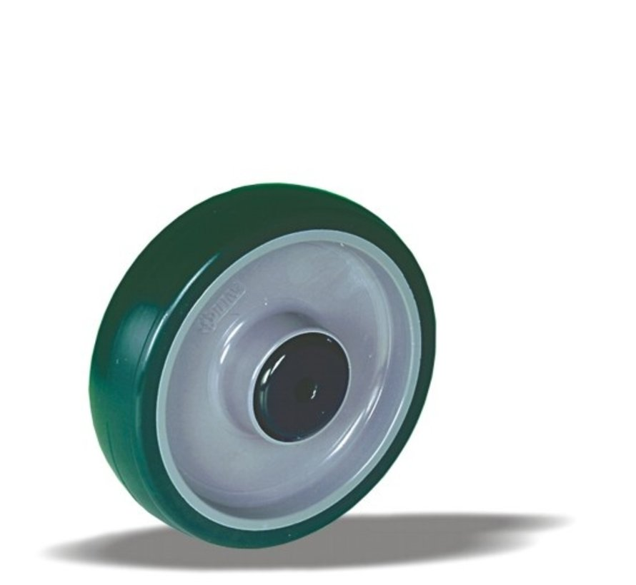nerjaveče jeklo kolo + brizgana poliuretanska obloga  Ø160 x W50mm Za  400kg Prod ID: 43105