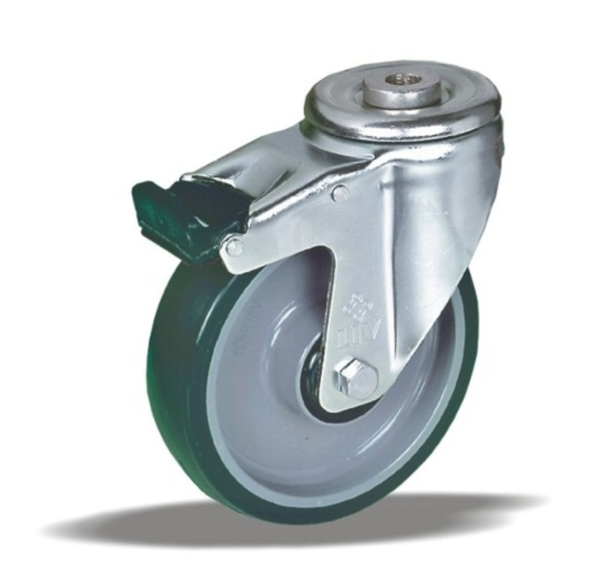 stainless steel Swivel castor with brake + injection-moulded polyurethane tread Ø100 x W32mm for  150kg Prod ID: 41405