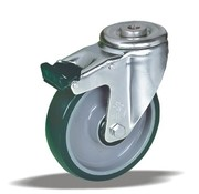 LIV SYSTEMS Swivel castor with brake + injection-moulded polyurethane tread Ø200 x W50mm for 300kg
