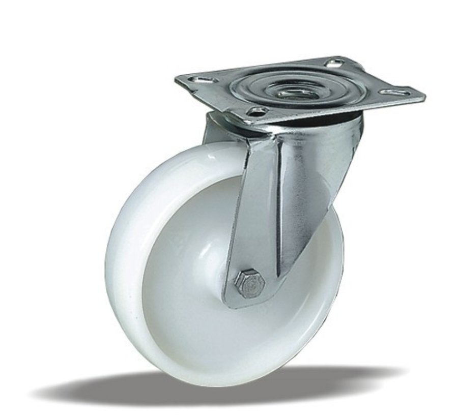 stainless steel Swivel castor + solid polyamide wheel Ø100 x W35mm for  200kg Prod ID: 41275
