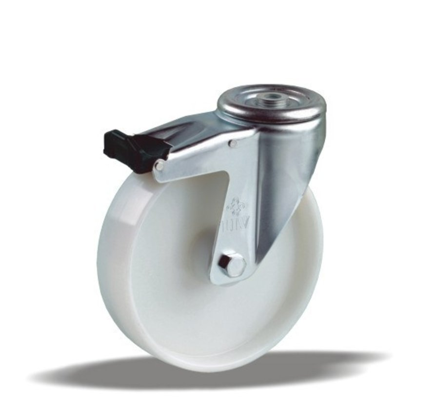 stainless steel Swivel castor with brake + solid polyamide wheel Ø80 x W35mm for  150kg Prod ID: 41334