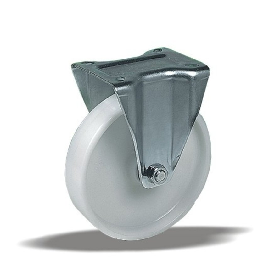 stainless steel Fixed  castor + solid polyamide wheel Ø80 x W35mm for  150kg Prod ID: 41254