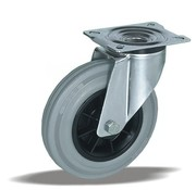 LIV SYSTEMS Swivel castor + grey rubber tread Ø100 x W32mm for 80kg