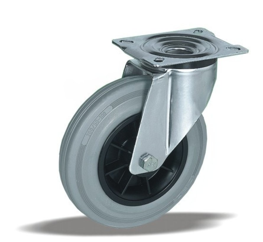 stainless steel Swivel castor + grey rubber tyre Ø200 x W50mm for  230kg Prod ID: 41884