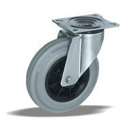 LIV SYSTEMS Swivel castor + grey rubber tread Ø200 x W50mm for 230kg