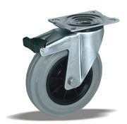 LIV SYSTEMS Swivel castor with brake + grey rubber tread Ø125 x W37mm for 130kg