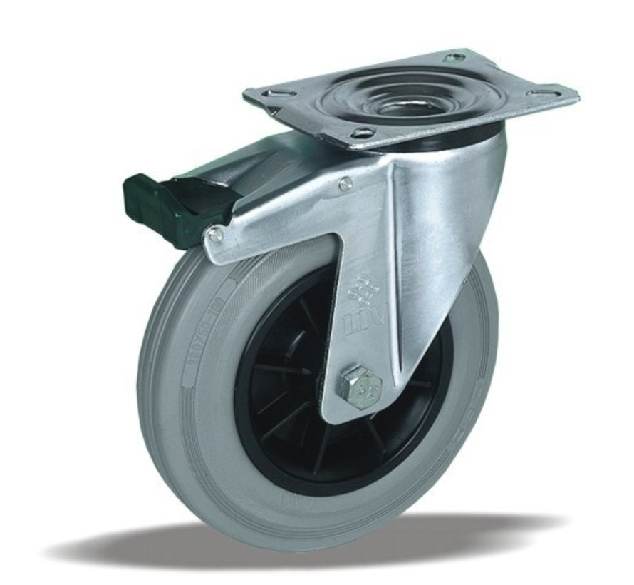 stainless steel Swivel castor with brake + grey rubber tyre Ø200 x W50mm for  230kg Prod ID: 41913