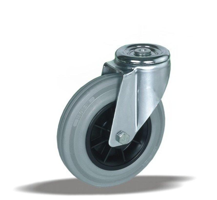 stainless steel Swivel castor + grey rubber tyre Ø125 x W37mm for  130kg Prod ID: 41543