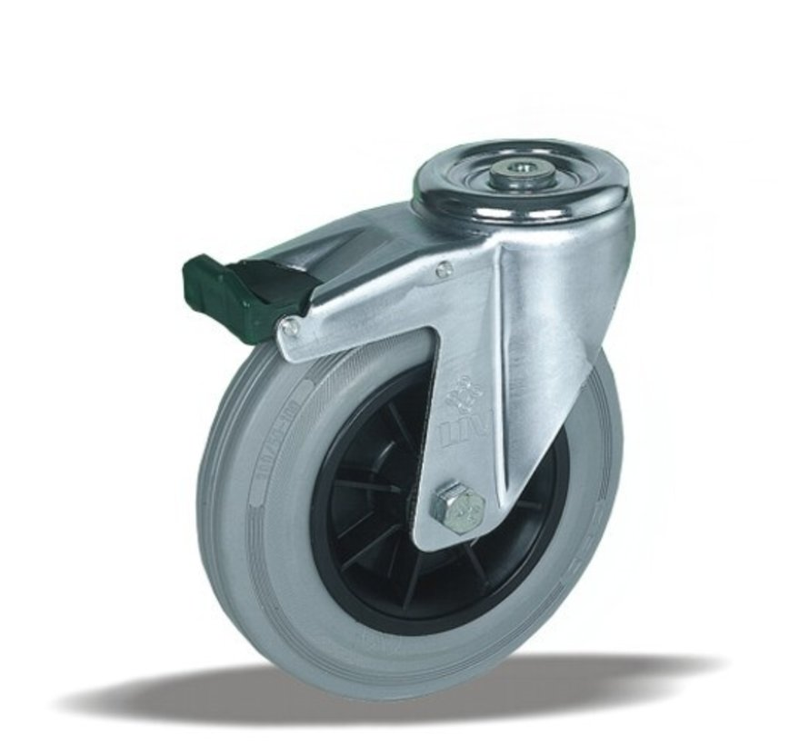 stainless steel Swivel castor with brake + grey rubber tyre Ø200 x W50mm for  230kg Prod ID: 41964