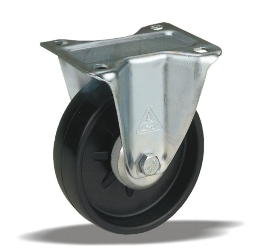 standard Fixed  castor + solid polyamide wheel Ø108 x W36mm for  200kg Prod ID: 31815