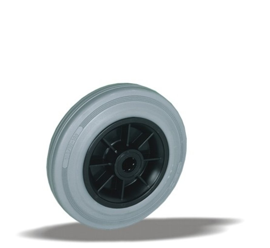 standard wheel + grey rubber tyre Ø160 x W40mm for  180kg Prod ID: 39373