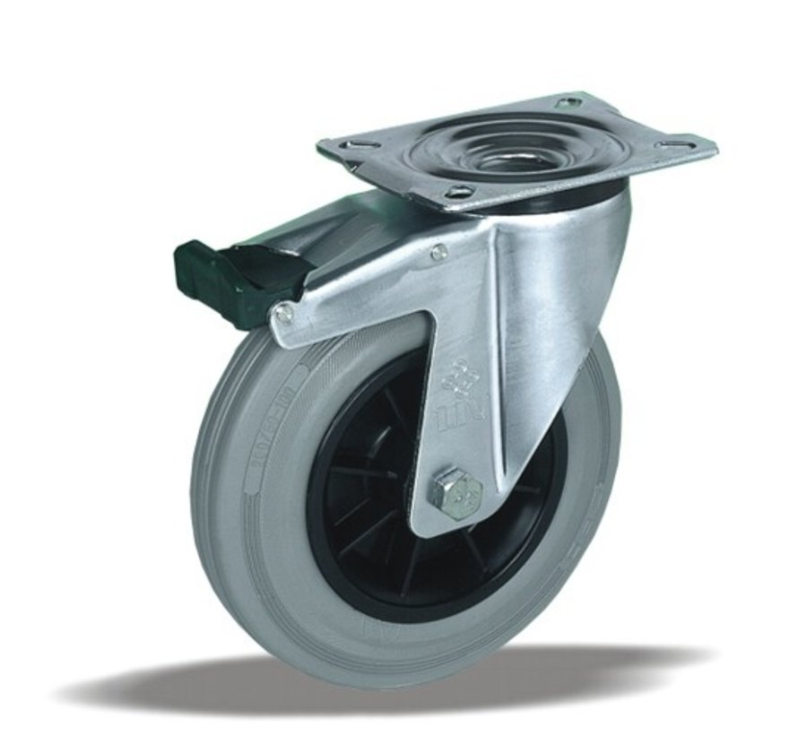 standard Swivel castor with brake + grey rubber tyre Ø80 x W30mm for  65kg Prod ID: 39423