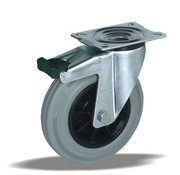 LIV SYSTEMS vrtljivo kolo z zavoro + siva guma Ø200 x W50mm Za 230kg