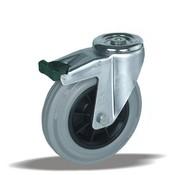 LIV SYSTEMS Swivel castor with brake + grey rubber tread Ø100 x W32mm for 80kg