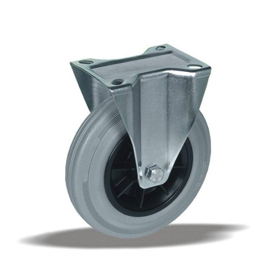 standard Fixed  castor + grey rubber tyre Ø200 x W50mm for  230kg Prod ID: 39663