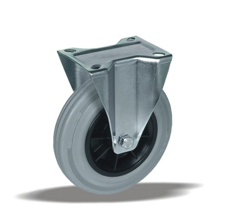 standard Fixed  castor + grey rubber tyre Ø200 x W50mm for  230kg Prod ID: 35455
