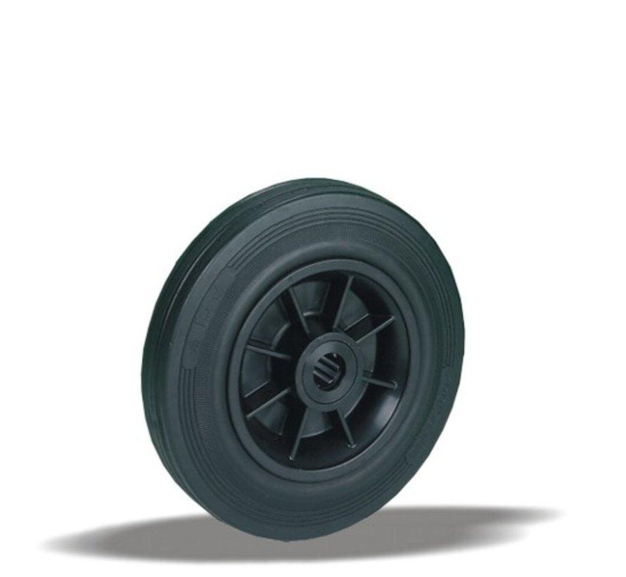 standard transport wheel + black rubber tyre Ø125 x W37mm for  130kg Prod ID: 30223