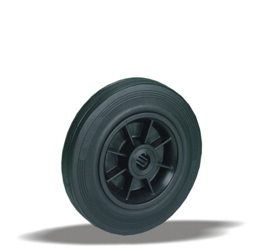 standard transport wheel + black rubber tyre Ø180 x W50mm for  200kg Prod ID: 30265