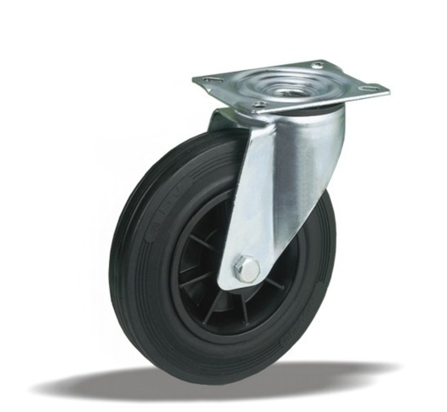standard Swivel transport castor + black rubber tyre Ø125 x W37mm for  130kg Prod ID: 31124