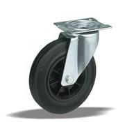 LIV SYSTEMS Swivel transport castor + black rubber tread Ø160 x W40mm for 180kg