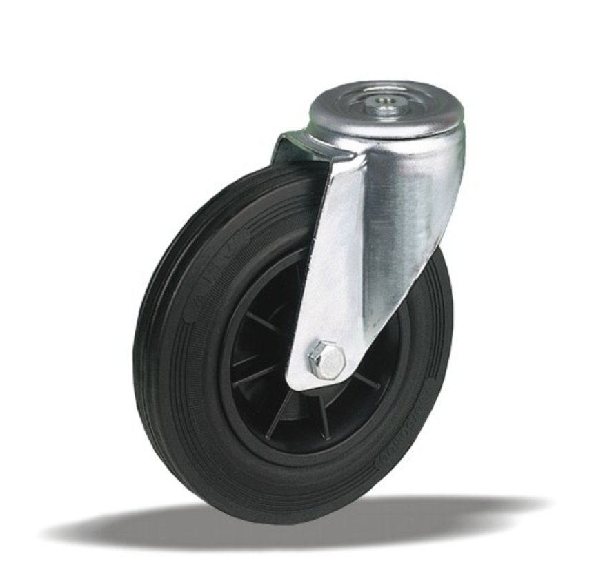 standard Swivel transport castor + black rubber tyre Ø125 x W37mm for  130kg Prod ID: 34143