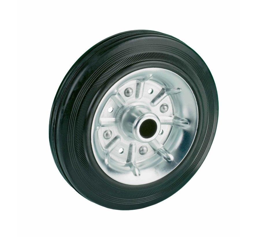 standard transport wheel + black rubber tyre Ø125 x W37mm for  130kg Prod ID: 61776