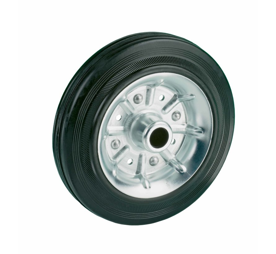 standard transport wheel + black rubber tyre Ø160 x W40mm for  180kg Prod ID: 64155