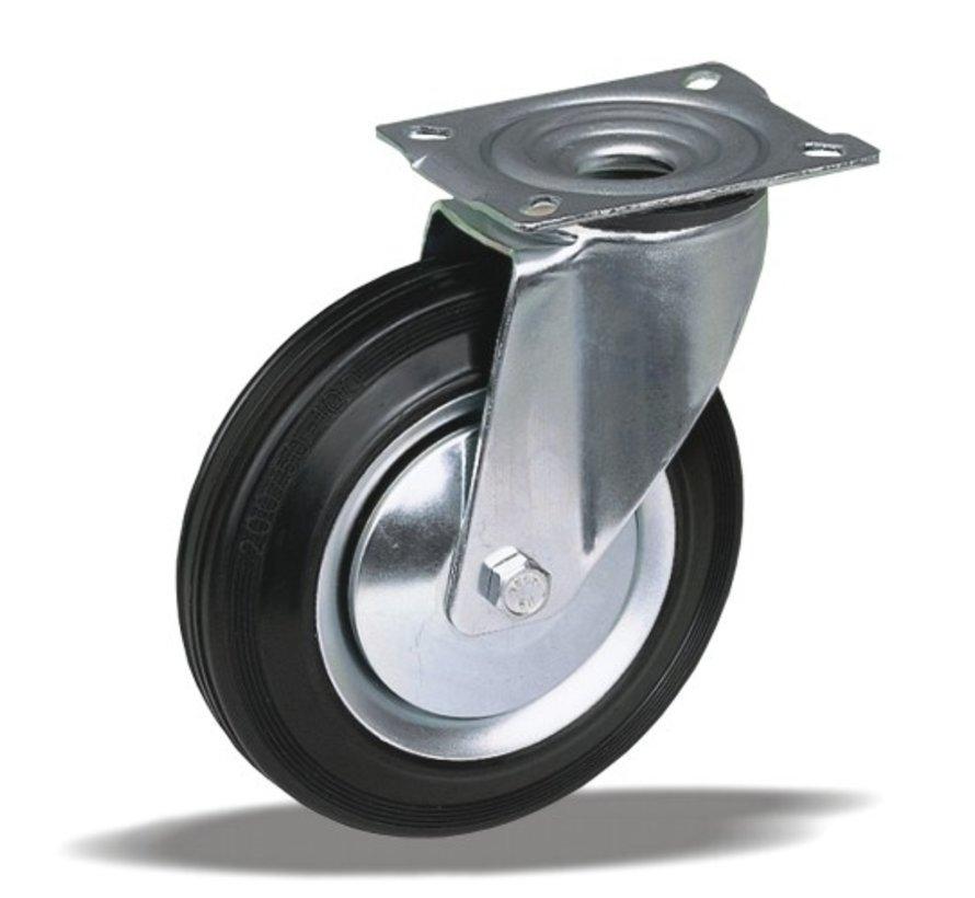 standard Swivel transport castor + black rubber tyre Ø200 x W50mm for  230kg Prod ID: 62393