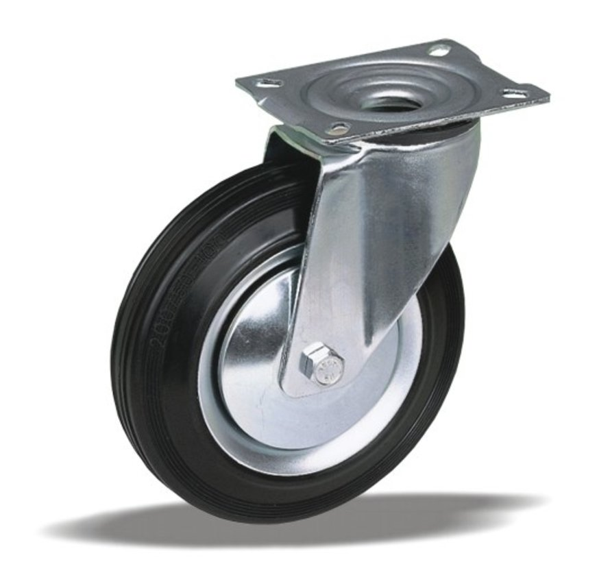 standard Swivel transport castor + black rubber tyre Ø250 x W65mm for  300kg Prod ID: 62952