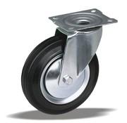 LIV SYSTEMS Swivel transport castor + black rubber tread Ø250 x W65mm for 300kg