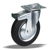 LIV SYSTEMS Swivel transport castor with brake + black rubber tread Ø125 x W32mm for 130kg