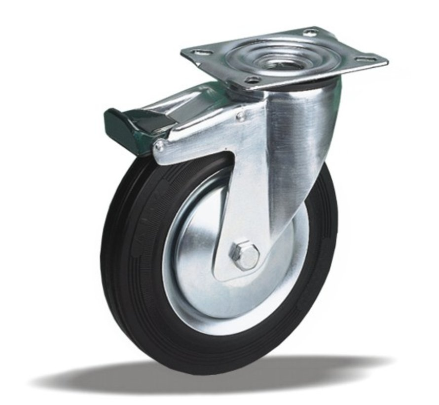 standard Swivel transport castor with brake + black rubber tyre Ø160 x W40mm for  180kg Prod ID: 30324