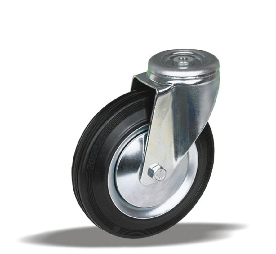 standard Swivel transport castor + black rubber tyre Ø150 x W40mm for  170kg Prod ID: 34033