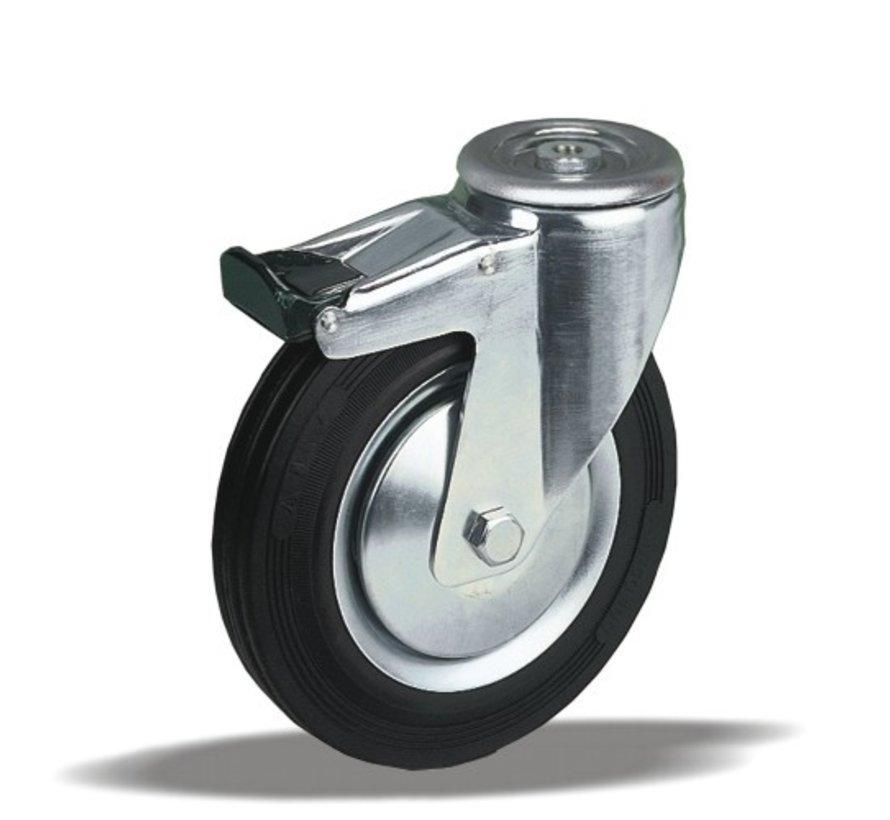 standard Swivel transport castor with brake + black rubber tyre Ø125 x W37mm for  130kg Prod ID: 34083