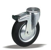 LIV SYSTEMS Swivel transport castor with brake + black rubber tread Ø200 x W50mm for 230kg