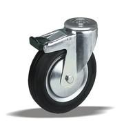 LIV SYSTEMS Swivel transport castor with brake + black rubber tread Ø200 x W50mm for 230kg