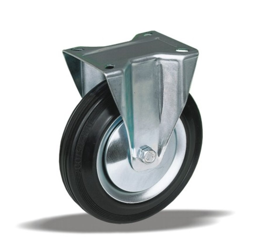 standard fixed transport castor + black rubber tyre Ø125 x W37mm for  130kg Prod ID: 62401