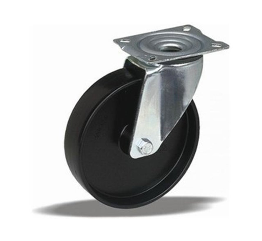 standard Swivel castor + solid polypropylene wheel Ø80 x W35mm for  100kg Prod ID: 60808