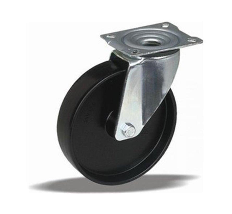 standard Swivel castor + solid polypropylene wheel Ø125 x W38mm for  150kg Prod ID: 60801