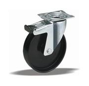 LIV SYSTEMS Swivel castor with brake + solid polypropylene wheel Ø125 x W38mm for 150kg