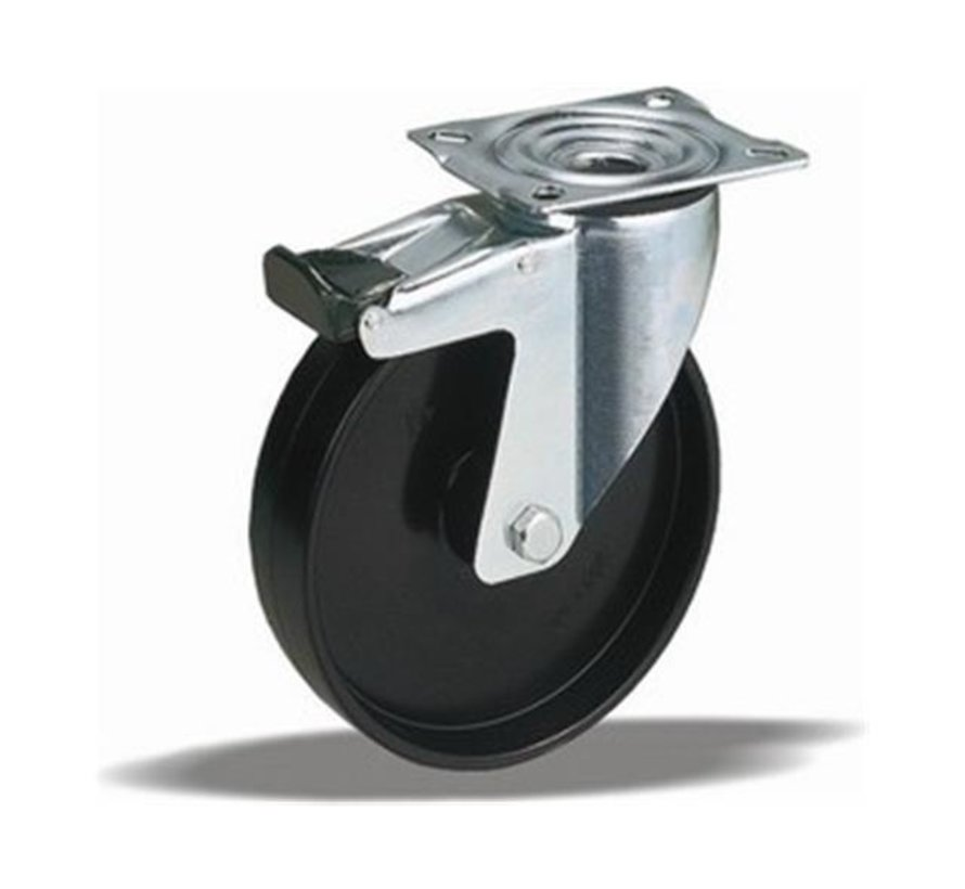 standard Swivel castor with brake + solid polyamide wheel Ø100 x W35mm for  200kg Prod ID: 30444