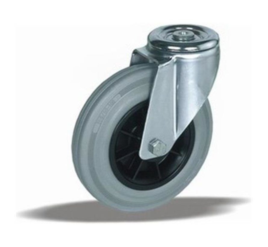 standard Swivel castor + grey rubber tyre Ø125 x W37mm for  130kg Prod ID: 38614