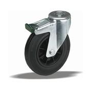 LIV SYSTEMS Swivel transport castor with brake + black rubber tread Ø80 x W30mm for 65kg