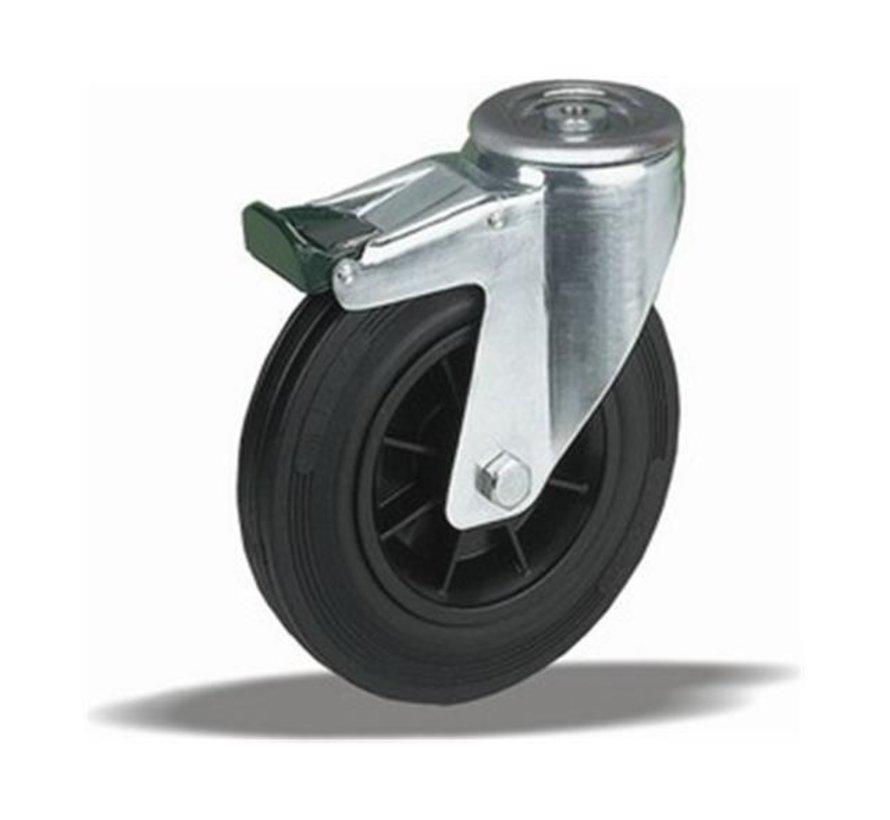 standard Swivel transport castor with brake + black rubber tyre Ø125 x W37mm for  130kg Prod ID: 34214