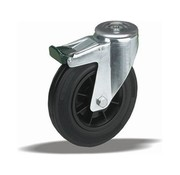 LIV SYSTEMS Swivel transport castor with brake + black rubber tread Ø180 x W50mm for 200kg